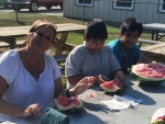Jeremy, Brandon, and me eating Grant's watermelon